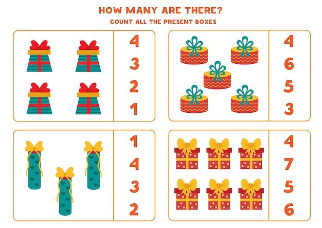 Conte todas as caixas de presentes. jogo educativo de matemática para crianças.