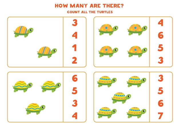 Conte todas as tartarugas coloridas e circule as respostas corretas. jogo de matemática para crianças.