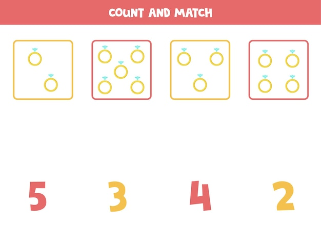 Conte todos os anéis dos namorados e combine com a resposta correta. jogo educativo de matemática para crianças.
