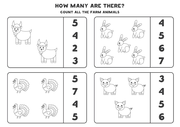 Conte todos os animais de fazenda em preto e branco e circule as respostas corretas. jogo de matemática para crianças.