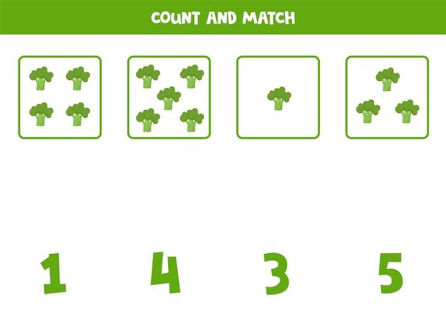 Conte todos os brócolis e combine com a resposta correta. jogo educativo de matemática para crianças.