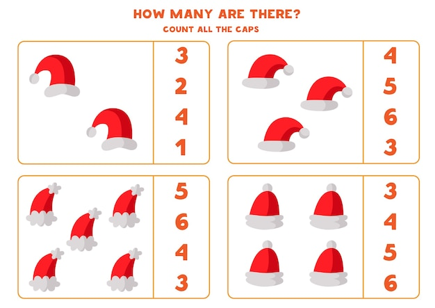 Conte todos os chapéus de papai noel. planilha de matemática educacional para crianças.