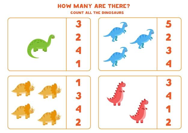Conte todos os dinossauros e circule a resposta correta. jogo educativo de matemática para crianças.