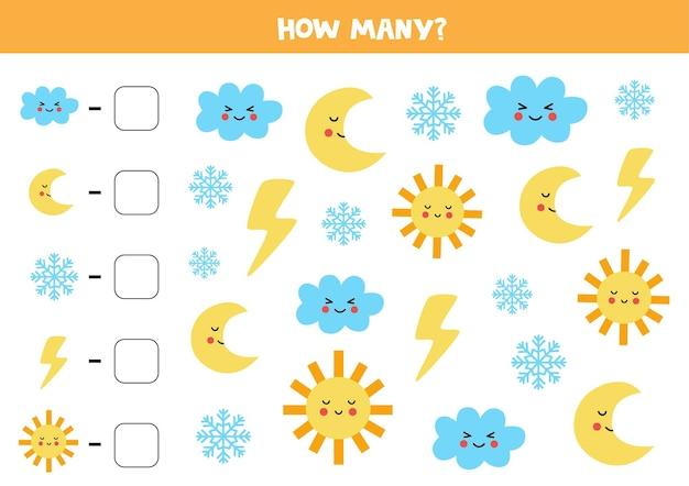 Conte todos os elementos climáticos e escreva o número na caixa. jogo de matemática para crianças.