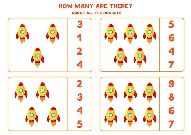 Conte todos os foguetes espaciais e escreva o número correto na caixa. jogo de contagem para crianças.