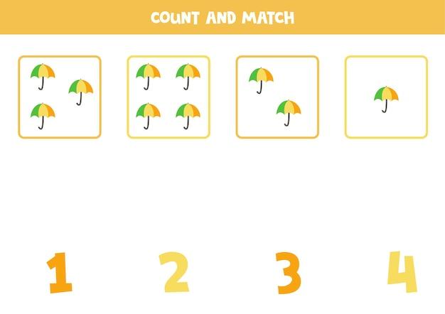 Conte todos os guarda-chuvas e combine com os números certos. jogo de matemática para crianças.