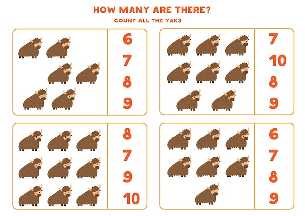 Conte todos os iaques e circule a resposta certa. jogo de matemática para crianças pré-escolares.
