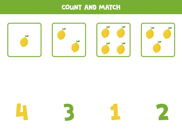 Conte todos os limões e combine com números. jogo de matemática para crianças pré-escolares.