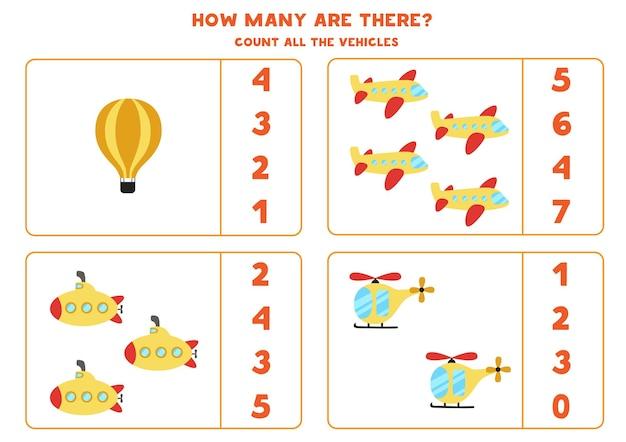 Conte todos os meios de transporte e circule a resposta certa. jogo de matemática.