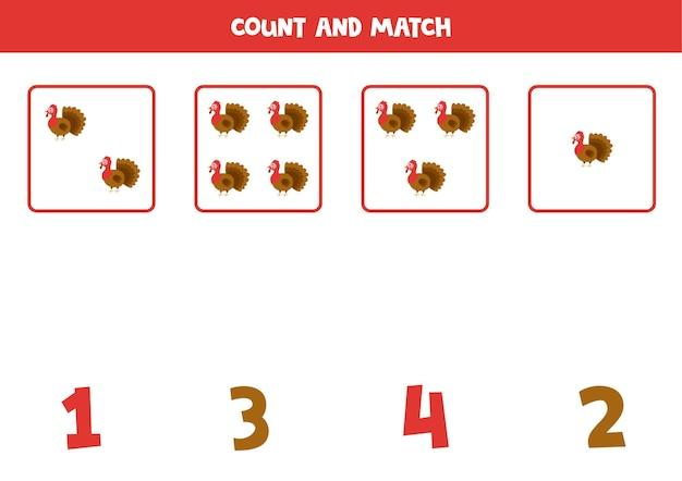 Conte todos os perus e combine com os números corretos. jogo de matemática para crianças.
