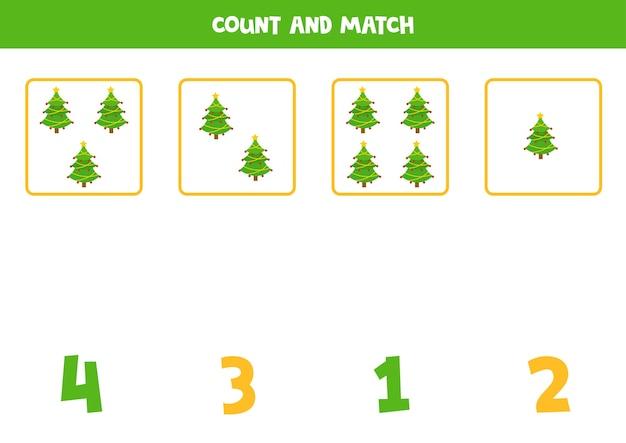 Conte todos os pinheiros de natal e combine-os com números. jogo de matemática para pré-escolares.