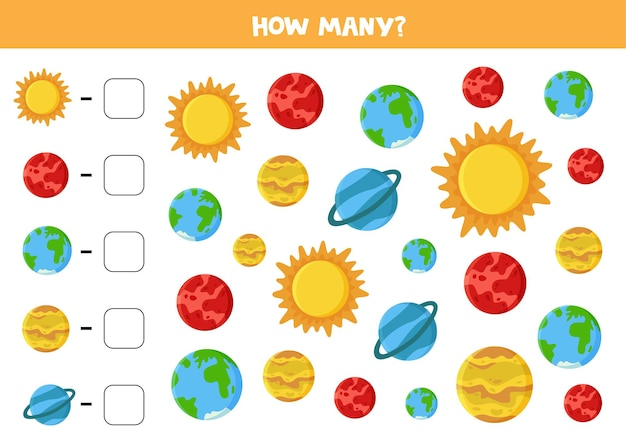 Conte todos os planetas do sistema solar e coloque o número correto na caixa. eu espio jogos para crianças.