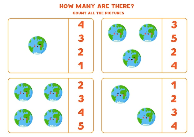 Conte todos os planetas terra e escreva o número correto na caixa. jogo de contagem para crianças.