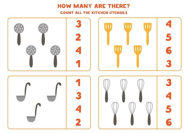 Conte todos os talheres de cozinha e escreva o número na caixa. jogo de matemática para crianças.