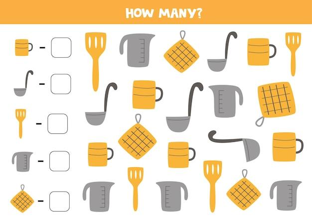 Conte todos os utensílios de cozinha e escreva o número na caixa. jogo de matemática para crianças.