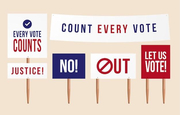 Conte todos os votos. política conjunto de placa de sinal de piquete de protesto, comprimidos, cartazes para demonstração. situação nos eua após a eleição presidencial