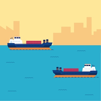Contêiner de navio de carga no transporte marítimo