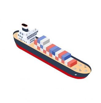 Contêiner do navio isométrico