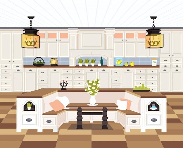 Contemporâneo cozinha interior vazio sem pessoas casa sala de jantar moderno apartamento