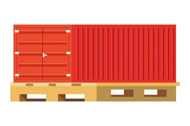 Contentor de carga sobre ilustração de paletes Vetor Premium