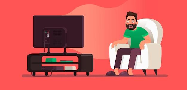 Conteúdo chocante, notícias falsas, mentiras ou fofoca na televisão. homem espantado assistindo tv. a emoção de surpresa. ilustração vetorial no estilo cartoon