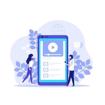 Conteúdo de vídeo, rede social de compartilhamento de vídeo, aplicativo player para celular e pessoas