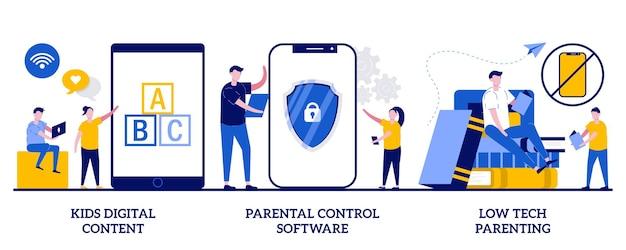 Conteúdo digital para crianças, software de controle parental, parentalidade de baixa tecnologia. conjunto de acesso à mídia infantil