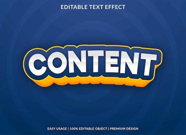 Conteúdo editável texto efeito modelo vetor premium