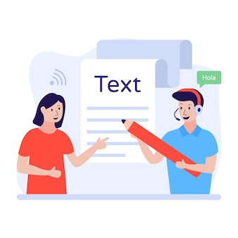Conteúdo online escrevendo ilustração plana de texto online