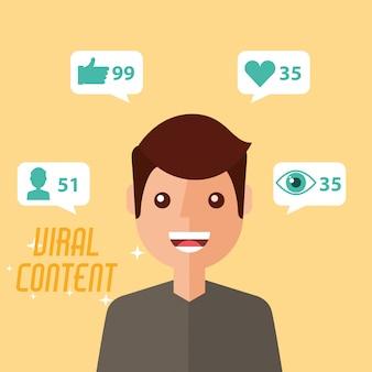 Conteúdo viral do homem retrato