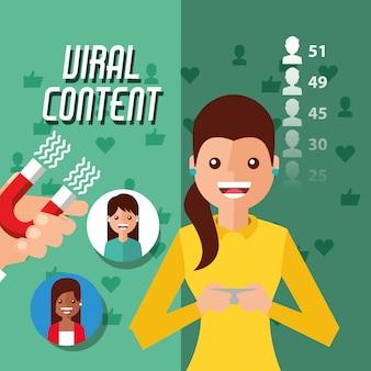 Conteúdo viral mulher segurando móvel com ímã atrai seguidores
