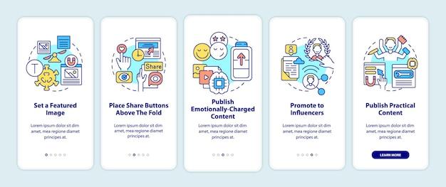 Conteúdo viral que dá dicas de integração na tela da página do aplicativo móvel.