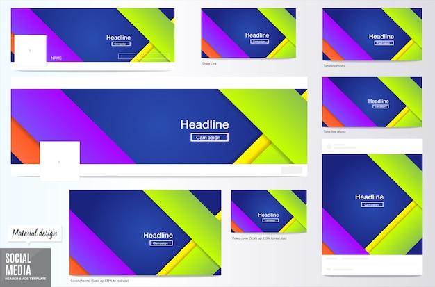 Contexto de layout de mídia e mídia de mídia social, estilo de design de material, layout de cabeçalho