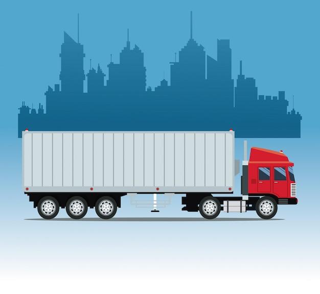 Contexto urbano do contentor de carga do caminhão
