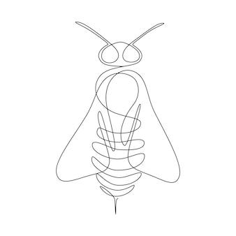 Contínua uma abelha de desenho de linha. logotipo de abelha de linha única. ilustração em preto e branco