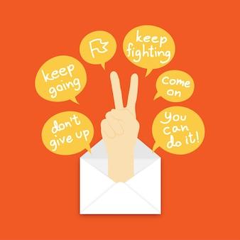 Continue lutando mão sinal linguagem pop-up de correio e caixa de texto em fundo de cor laranja