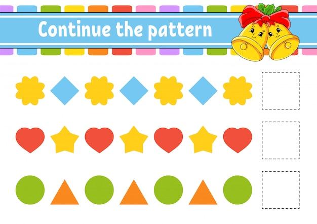 Continue o padrão. planilha de desenvolvimento de educação. jogo para crianças. página de atividade.