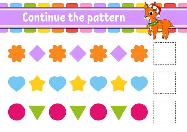 Continue o padrão. planilha de desenvolvimento de educação. jogo para crianças.