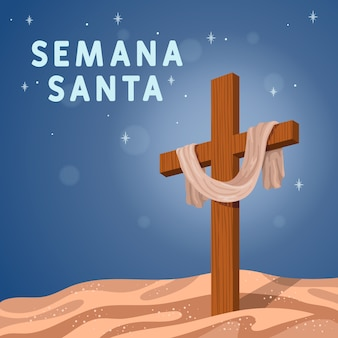 Conto de crucificação da semana santa de design plano