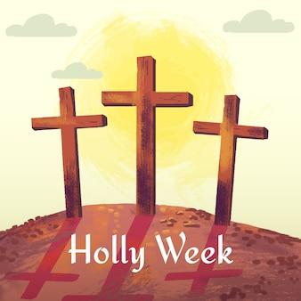 Conto de crucificação da semana santa em aquarela