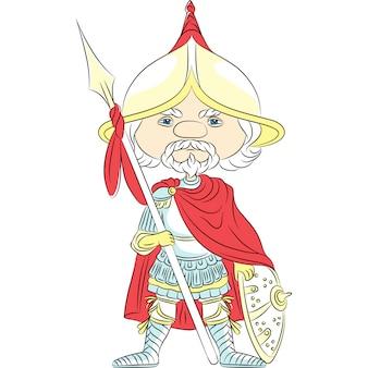 Conto de fadas cavaleiro de desenho animado em armadura com uma lança na frente do castelo