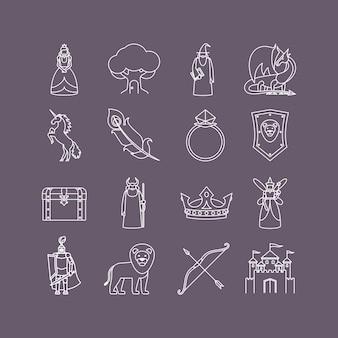 Conto de fadas conjunto de ícones de linha fina