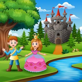 Conto de fadas da bela princesa e príncipe na beira do rio