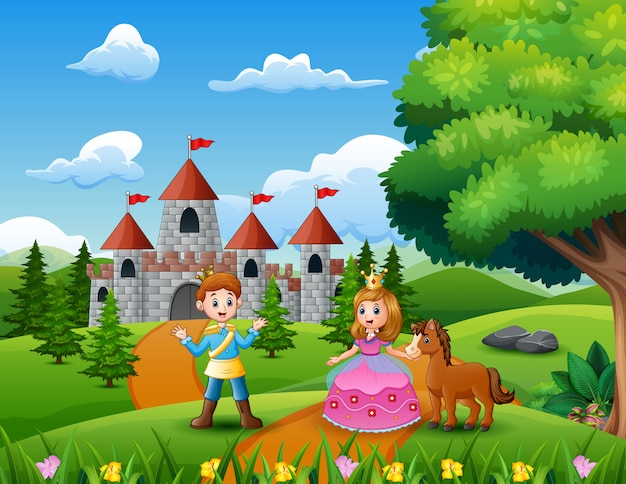Conto de fadas da bela princesa e príncipe na estrada que conduz ao castelo