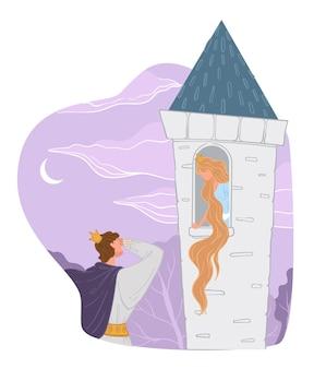 Conto de fadas de rapunzel, príncipe resgatando princesa com cabelo comprido preso em uma torre alta ou fortaleza. menina encantada, personagem ou história encantada para crianças. quebrando a maldição, encantadora senhora e cavalheiro, vetor