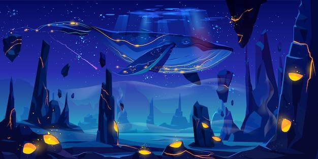 Conto de fadas do espaço com enorme baleia