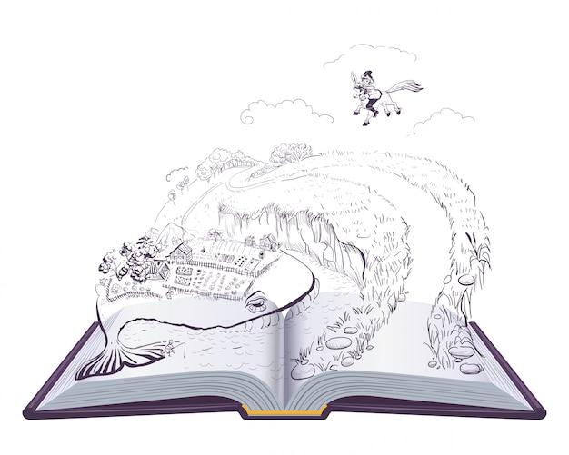 Conto de fadas russo pequeno cavalo humpbacked. ilustração de livro aberto