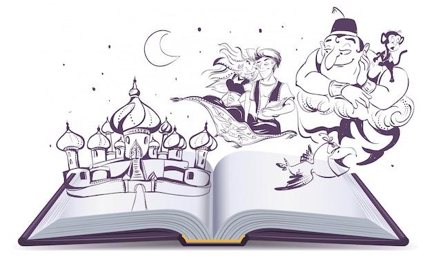 Conto de história de livro aberto lâmpada mágica aladdin. contos árabes alladin, gênio e princesa