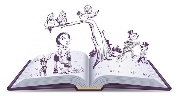 Conto de ilustração de livro aberto de pinóquio