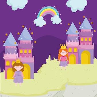Conto de princesa desenho animado princesa personagem castelos ilustração em vetor arco-íris